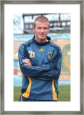 David Beckham On Location For David Framed Print by Everett