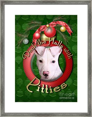 Deck The Halls With Pitbulls Framed Print by Renae Laughner