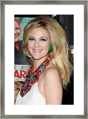 Drew Barrymore Wearing An Andrew Gn Framed Print by Everett