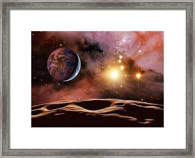 Earthlike Alien Planet, Artwork Framed Print by Detlev Van Ravenswaay