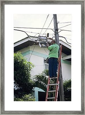 Electricity Maintenance Framed Print by David Nunuk