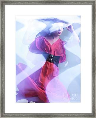 Fashion Photo Of A Woman In Shining Blue Settings Wearing A Red  Framed Print by Oleksiy Maksymenko