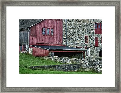 Field Stone Barn Framed Print by John Greim
