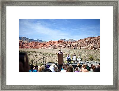 First Lady Michelle Obama Speaks Framed Print by Everett