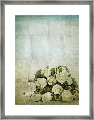 Floral Pattern On Old Paper Framed Print by Setsiri Silapasuwanchai
