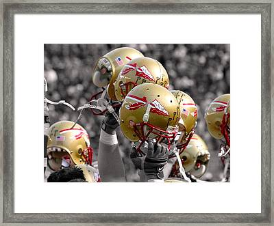 Florida State Football Helmets Framed Print by Mike Olivella