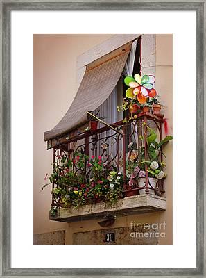 Flowery Balcony Framed Print by Carlos Caetano