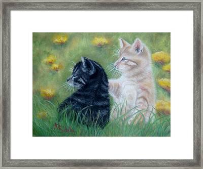 Frisky Friends Framed Print by Annamarie Sidella-Felts