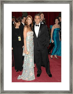 George Clooney, Sarah Larson Wearing Framed Print by Everett
