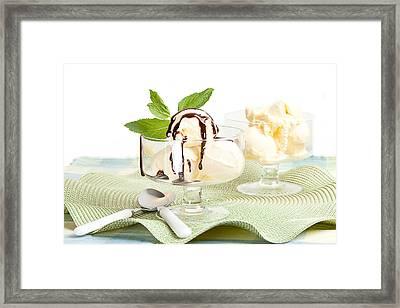 Glass Bowl With Vanilla Ice Cream And Chocolate Sauce Framed Print by Lorraine Kourafas