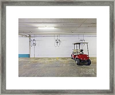 Golf Cart Parking Garage Framed Print by Skip Nall