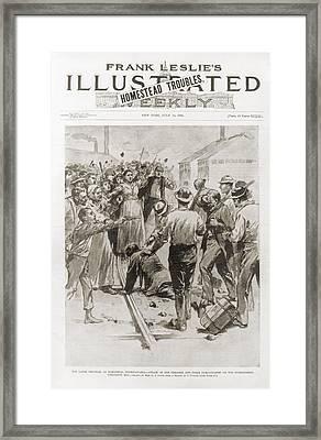 Great Battle Of Homestead. Strikers Framed Print by Everett
