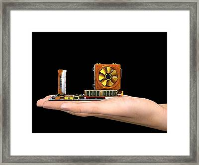 Hand With Computer Motherboard, Artwork Framed Print by Pasieka