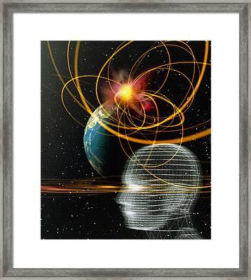 Head In Space Framed Print by Mehau Kulyk
