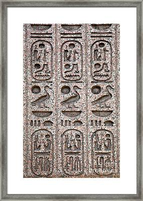 Hieroglyphs On Ancient Carving Framed Print by Jane Rix