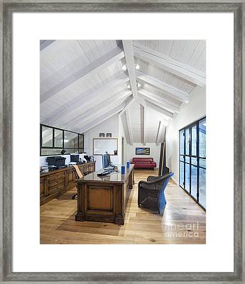 Home Office In An Attic Framed Print by Noam Armonn