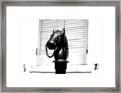 Horse Head Hitching Post Macro French Quarter New Orleans Black And White Conte Crayon Digital Art Framed Print by Shawn O'Brien