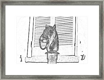 Horse Head Hitching Post Macro French Quarter New Orleans Black And White Photocopy Digital Art Framed Print by Shawn O'Brien