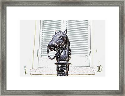 Horse Head Pole Hitching Post Macro French Quarter New Orleans Colored Pencil Digital Art Framed Print by Shawn O'Brien