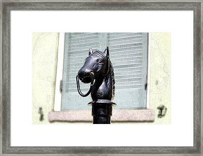 Horse Head Pole Hitching Post Macro French Quarter New Orleans Ink Outlines Digital Art Framed Print by Shawn O'Brien
