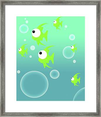 Illustration Of Fish And Bubbles Framed Print by Chris Knorr