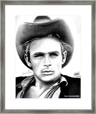 James Dean Framed Print by Celebrity Portrait Art by Steve Baker Sanfellipo