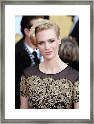 January Jones Wearing A Carolina Framed Print by Everett