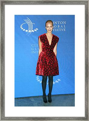 Jessica Alba Wearing A Prada Dress Framed Print by Everett