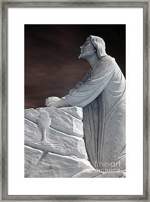 Jesus Kneeling - Religious Christian Art Framed Print by Kathy Fornal