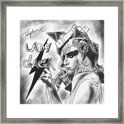 Lady Gaga Telephone Drawing Framed Print by Pierre Louis
