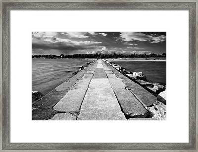 Lake Michigan Jetty Framed Print by Tanya Harrison