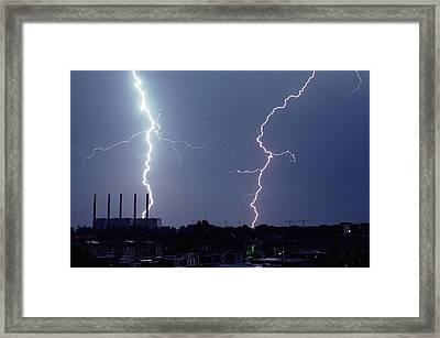 Lightning Over City Framed Print by John Foxx