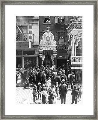 Little Italy, Street Altar To Our Lady Framed Print by Everett