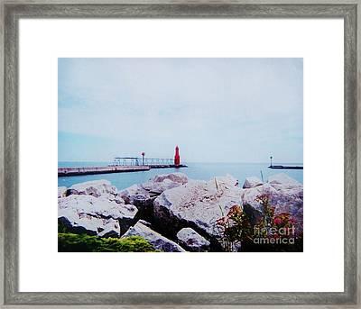 Little Red Lighthouse Framed Print by Marsha Heiken
