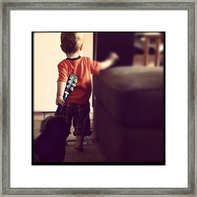 Lovin Life And Playing Guitar Framed Print by Stephanie Brown