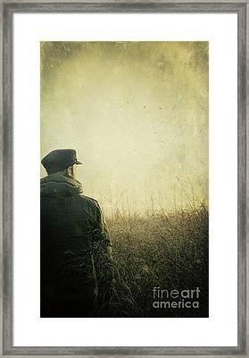 Man Alone In Autumn Field Framed Print by Sandra Cunningham