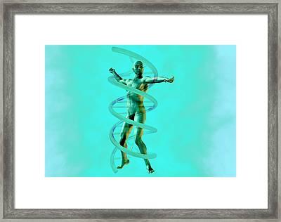 Man And Dna Framed Print by Christian Darkin
