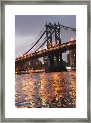 Manhattan Bridge Framed Print by Nina Mirhabibi
