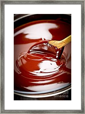 Melted Chocolate And Spoon Framed Print by Elena Elisseeva