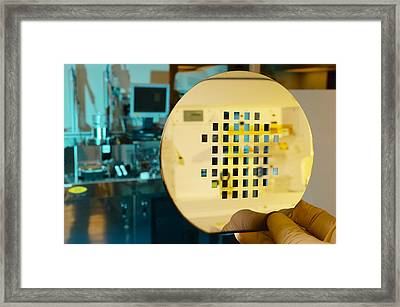 Mems Production, Machined Silicon Wafer Framed Print by Colin Cuthbert