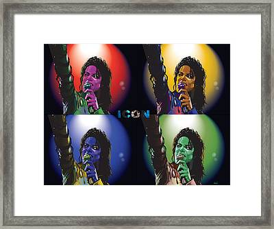Michael Jackson Icon4 Framed Print by Mike  Haslam