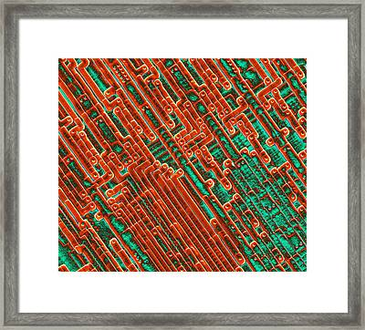 Microchip Circuitry, Sem Framed Print by Power And Syred