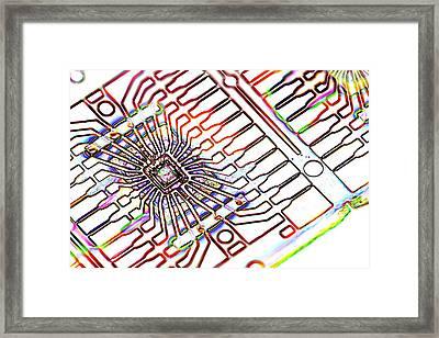 Microprocessor Chip, Artwork Framed Print by Pasieka