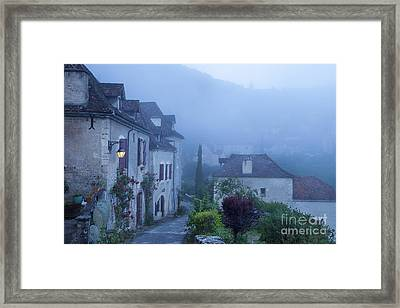 Misty Dawn In Saint Cirq Lapopie Framed Print by Brian Jannsen