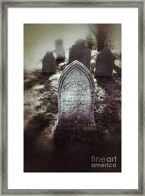 Misty Graveyard Framed Print by Jill Battaglia