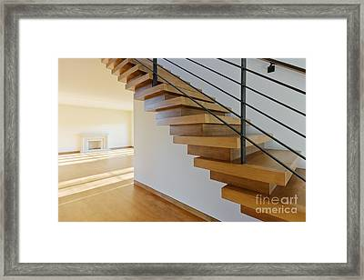 Modern Wood Staircase Framed Print by Jeremy Woodhouse