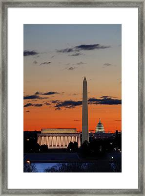 Monuments At Sunrise Framed Print by Metro DC Photography