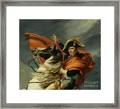 Napoleon Crossing The Alps On 20th May 1800 Framed Print by Jacques Louis David