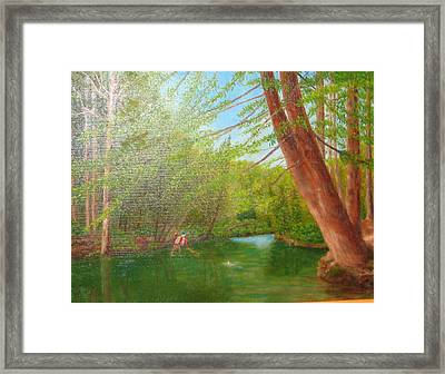 Netting A Brown On The Davidson Framed Print by Jim Hefley