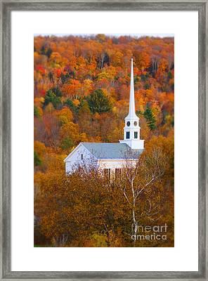 New England Church In Autumn Framed Print by Jill Battaglia